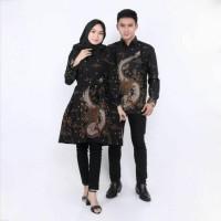 Atasan baju batik anak muda motif naga warna coklat seragam batik