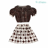 Lilnotre Dress Anak perempuan/Dress Batik Anak/Maleah Dress/Dark Brown