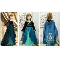 Dress Kostum FROZEN 2 ll ANNA Dua Jubah Hijau Baju Princess Putri Anak