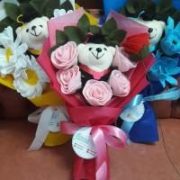 Buket bunga flanel mawar | Buket bunga flanel boneka wisuda cantik