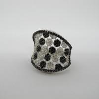 Cincin emas asli kadar 750 75% 22 6 gr fashion permata putih hitam ker