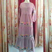 Lebaran Sale! Baju Gamis Dress Bordir Motif Bunga Katun 004