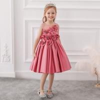 Dress pesta anak bunga satin pink - gaun ultah anak
