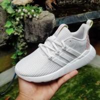 Sepatu Anak Adidas Questar Flow Kids Original Dash Grey White Pink
