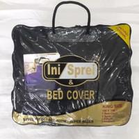 Bedcover Set Polos Embos Dengan Sprei ukuran 160x200 Tinggi 30cm-BLACK