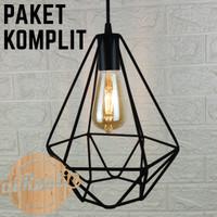 kap lampu gantung diamond design minimalis dekorasi cafe vintage rusti