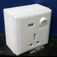 FACE PLATE COLOKAN LISTRIK AC-220V+COLOKAN USB DC-5V+OUTBOW BOX