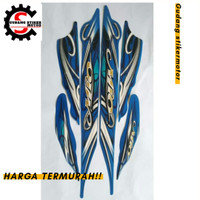 Stiker/striping motor Yamaha mio sporty 2010, putih - biru