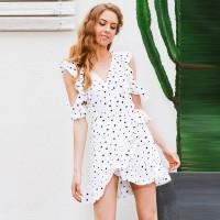 Fashion Wanita: Dress Mini Cold Shoulder Hem Asimetris Ruffle Motif