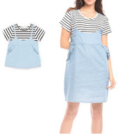 2 Piece Stripes Denim Nursing Dress Couple Set Baju Hamil