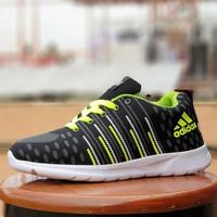 sepatu olahraga adidas neo running hitam stabilo / sport gym