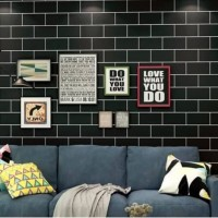 Wallpaper BATA HITAM LIST PUTIH - Wall Sticker Dinding 9M X 45CM