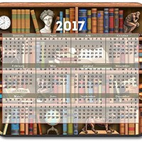 Books in Library Mouse Pad - with 2016 Calendar