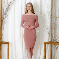 Sharon Knit Bodycon Dress - Gaun Sabrina Midi Lengan Panjang Sexy - PINK