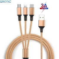 GROTIC Kabel Charger 3 in 1 3A Fast Charging 1.2M Nylon Braided Cable