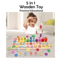 5 In 1 Mainan Kayu Edukasi Anak Puzzle Wooden Toy
