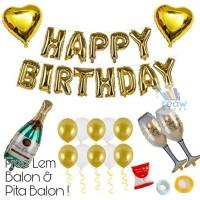 Paket Dekorasi Hiasan Balon Ulang Tahun Happy Birthday Tema Gold 05