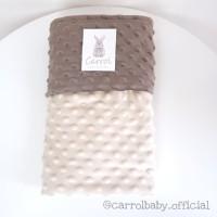 Carrol baby double side minky blanket | cream - dark brown