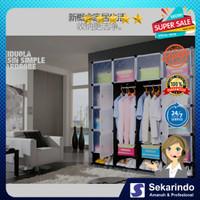 lemari almari plastik baju pakaian 16 kotak pintu protable rakit