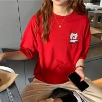 Babi Kaos T-Shirt Wanita Lengan Pendek Model Round Neck Motif Print