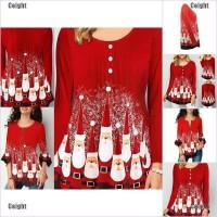 Kaos T-Shirt Casual Motif Santa Claus Natal untuk Wanita 2020