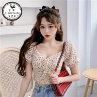 Xiaozhainv Pakaian wanita Korea V-neck Pendek Floral Baju lengan