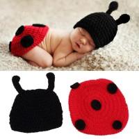 2Pcs/Set Topi Kupluk+Baju Kostum Ladybug Rajut untuk Properti