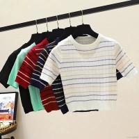 Kaos T-Shirt Rajut Korea Slim O-Neck Lengan Pendek Motif Garis