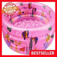 FREE POMPA Kolam Renang Anak / Kolam Karet Motif ikan Pink 90cm