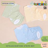 Setelan Baju Bayi Buntung-celana pop Shankusen Stripe Laki-Laki 3 stel