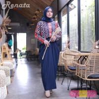 Gamis Busui Renata red biru Maxi Dress Batik Menyusui baju Hamil pesta