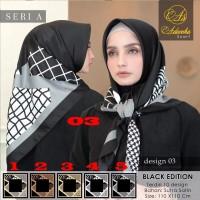 Jilbab Segi Empat Sarysha / Sharisya / Syarisha Gold White Black