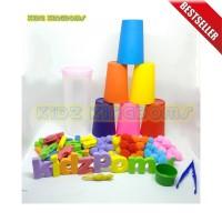 Mainan Montessori Sensory Toys Edukasi LENGKAP POMPOM dan MERONCE