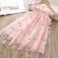 dress anak perempuan import / flower lace dress anak