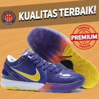Sepatu Basket Sneakers Nike Kobe 4 Protro Lakers Away Purple Yellow