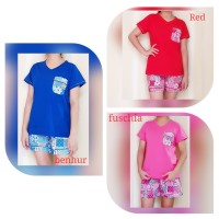 Baju Tidur Wanita Atasan Kaos V Neck Lgn Pdk/Cln Pendek Kain/ S.Flower