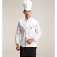 Ukuran M-XXXL Baju Chef Lengan Panjang dengan Kancing Satu Baris,