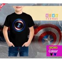 Kaos Anak Laki-Laki kids Captain America Logo - Rhymes - Hitam, 3-4 tahun