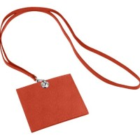 LUCRIN - Horizontal Badge holder with strap - Smooth Lamb - Leather, R