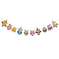 cartoon owl paper flag birthday party decoration banner bunting for