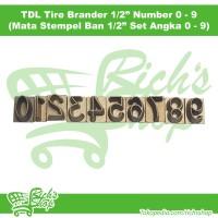 Mata Stempel Ban Listrik TDL Tire Brander 1/2 Inch Set Angka 0 - 9