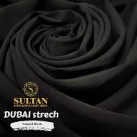 Kain Abaya Sultan Dubai Strech Polos Formal Black