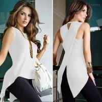 Kaos T-Shirt Wanita Casual Tanpa Lengan Model Asimetris Backless