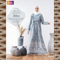 Nibras Gamis Syari NS 61 Warna Abu Bahan Silk Motif Baju Seragam Pesta