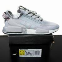 Sepatu SNeaker Adidas NMD R1 V2 Grey White Silver 40- 44 Premium BNIB