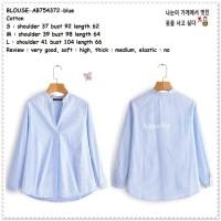 AB754372 Baju Atasan Kemeja Biru Garis Wanita Blouse Korea Import