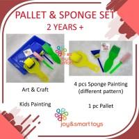 JOY SMART TOYS KIDS PAINTING SET PALLET SPONGE SET ART AND CRAFT ANAK - Merah