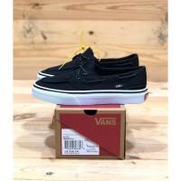 Sepatu Sneakers Unisex Vans Zapato Del Barco Up Black White Premium