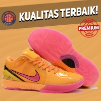 Sepatu Basket Sneakers Nike Kobe 4 Protro WNBA Orange Pink Yellow Pria