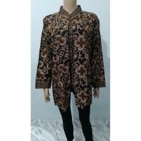 Atasan Blouse Kemeja Batik Wanita Jumbo Busui LD110 Hitam Coklat 1248